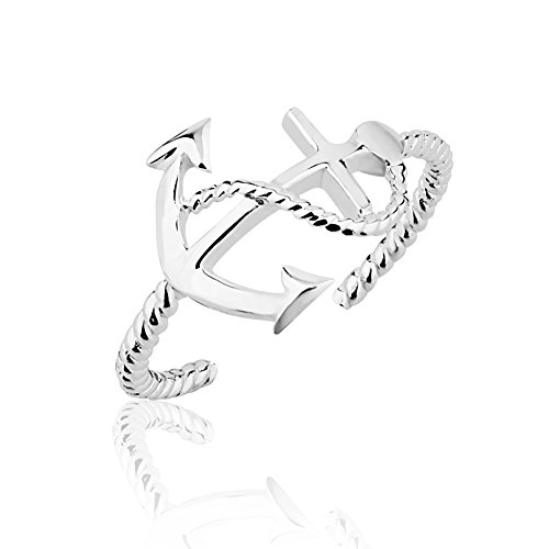 925 Sterling Silver Horizontal Nautical Anchor & Chain Open Ended Band Toe Ring by Chuvora