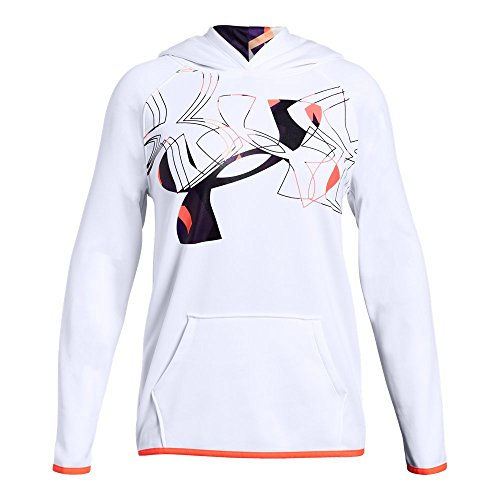 Under Armour Girls Armour Fleece Print Fill Logo Hoodie , White (100)/After Burn, Youth X-Large ()