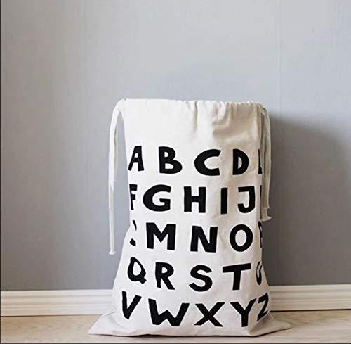 Canvas Kid Toy Storage Bag Portable Alphabet Pattern Laundry Basket Drawstring