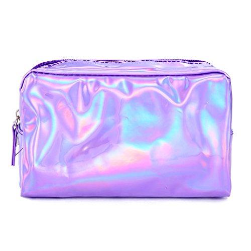 Rockrok Holographic Makeup Bag - Cute Pencil Case Fashion Cosmetic Pouch Zipper Purse Storage Bag for Women (Purple)