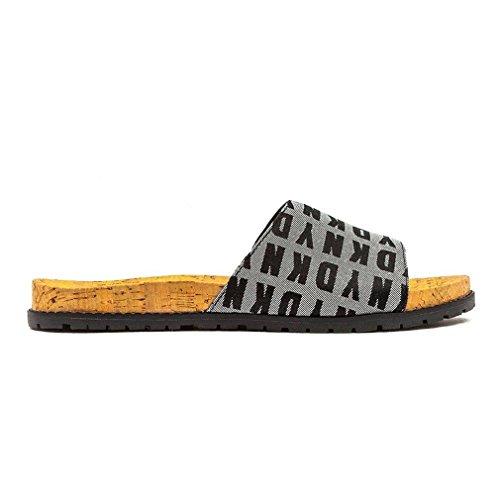 Shoes Slide Sandals Fashion Logo Karan Black DKNY Donna White Womens T4z1xPqwO