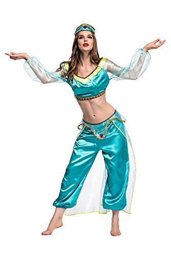 SIDNOR Halloween Aladdin Princess Jasmine India Belly Dance Arabian Exotic Fancy Dress Blue Cosplay Costume -
