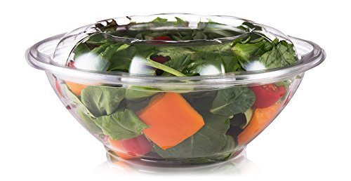 24 oz Disposable Salad Bowls With Lids (Pack Of 50) By PracticAid: Clear Plastic Containers To Go, Airtight And Leak-Proof Sealing For Fresh Food, Eco-Friendly Biodegradable PET, Stack-able Design