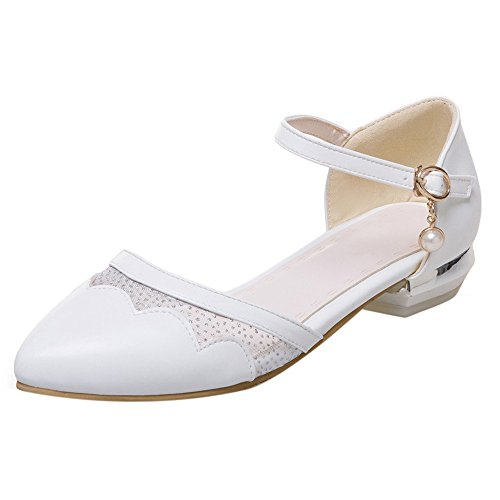 TAOFFEN Women Casual Ankle Strap D'Orsay Flats Court Shoes Sweet Ballet Shoes 109 White NAT7Wsw