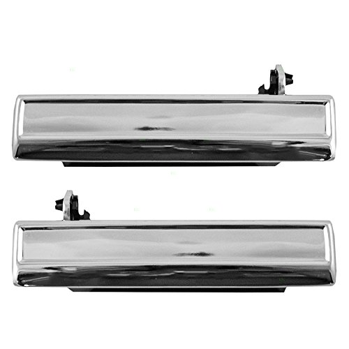 Pair Set Front Outside Outer Chrome Door Handles Replacement for Buick Cadillac Chevrolet 20332645 (Cavalier Outside Door Handle)