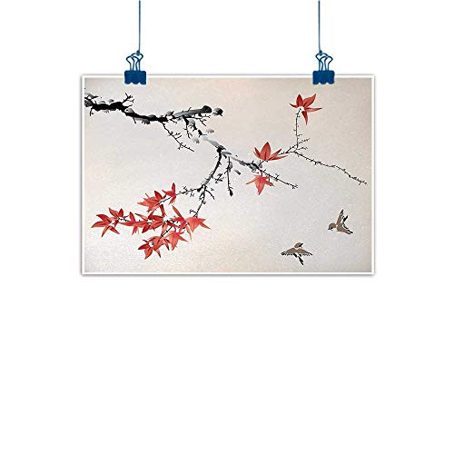 Outdoor Nature Inspiration Poster Wilderness Japanese,Cherry Blossom Sakura Tree Branches Romantic Spring Themed Watercolor Picture,Coral Black 36