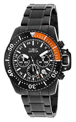 (Invicta Men's 11290 Pro Diver Chronograph Black Carbon Fiber Dial Black Stainless Steel Watch)
