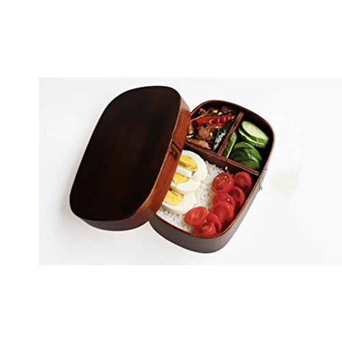 Generic Natural Wooden Lunch Box Bento Boxes Picnic Camping Snack Food Container with 3 Compartments, Japanese Style - 1, 18126 CM by Generic