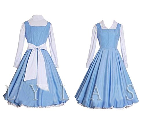 LYLAS Cosplay Costume Blue White Maid Gown Apron Dress (Female-XL)