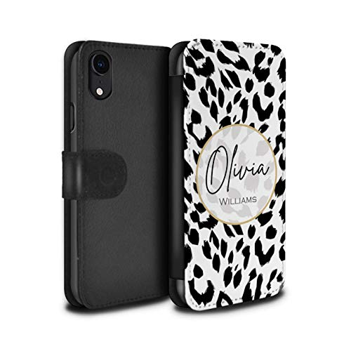 Personalized Custom Fashion Animal Print Pattern PU Leather Case for Apple iPhone XR/Snow Leopard Design/Initial/Name/Text DIY Wallet/Cover