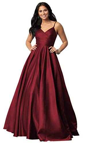 Women's Spaghetti Strap V Neck A Line Long Satin Evening Ball Gown Ruched Bodice Prom Formal Dress Burgundy Size 2