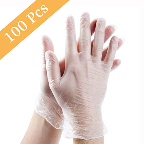 Guillala 100pcs Disposable Plastic Gloves, Disposable Food Prep Gloves, Disposable Polyethylene Work Gloves for Cooking…