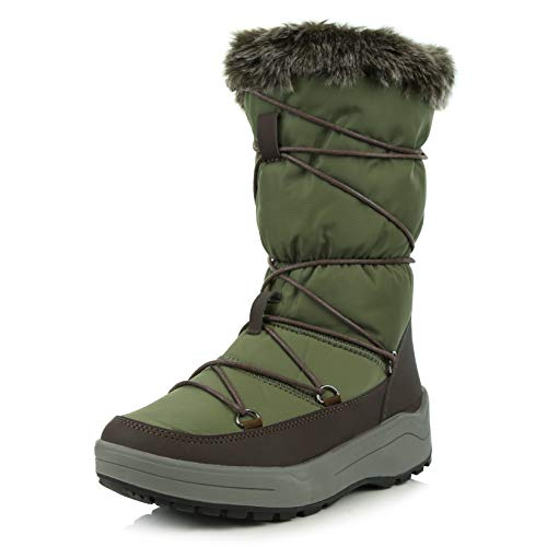 DailyShoes Women's Comfort Round Toe Mid Calf Lace Up Eskimo Winter Snow Boots, Gray, 9 B(M) US ()