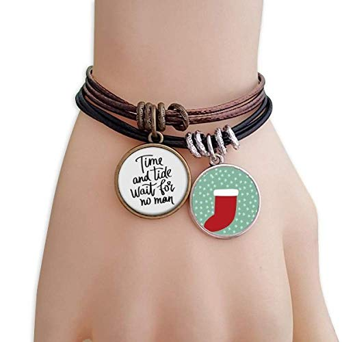 DIYthinker Time and Tide Wait for No Man Quote Christmas Stock Bracelet Leather Rope