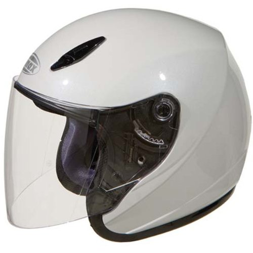 GMAX GM17 Unisex-Adult Open Face Motorcycle/Scooter Street Helmet (Pearl White, X-Small)