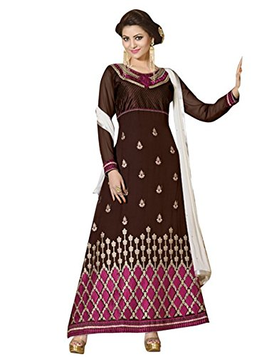 Vibes Women's Gorgette Salwar Suit Dress Material – Free Size, Brown