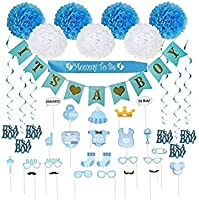Baby Shower Decorations 40 pcs Kit for Boy | Assembled Banner | Party Photo Booth Props | Blue & White Flower Tissue Pom...