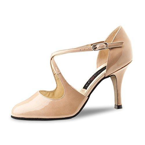 Nueva Epoca Zapatillas de Danza de Charol Para Mujer Beige Beige