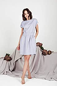 Dusty Blue color linen dress AURORA | Casual washed linen summer womens dresses with pockets and short sleeves
