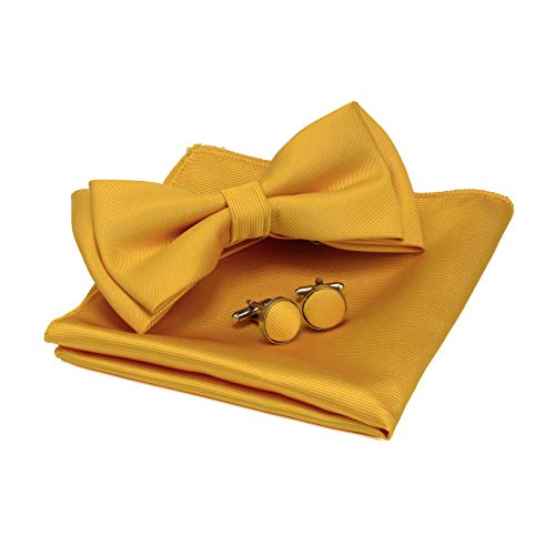Mens Solid Gold Bow tie for Wedding Pre-tied Yellow Bowtie and Pocket Square Cufflink Sets (0577-14)