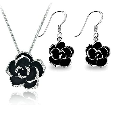 Yoursfs Jewelry Sets for Women Gold Plated Black Rose Pendant Necklace & Hook Earrings Cocktail Set