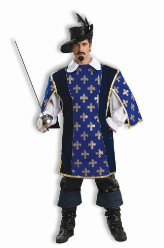 Designer Collection Musketeer Adult Costumes (Forum Deluxe Designer Collection Musketeer Costume, Blue/Gold, X-Large)