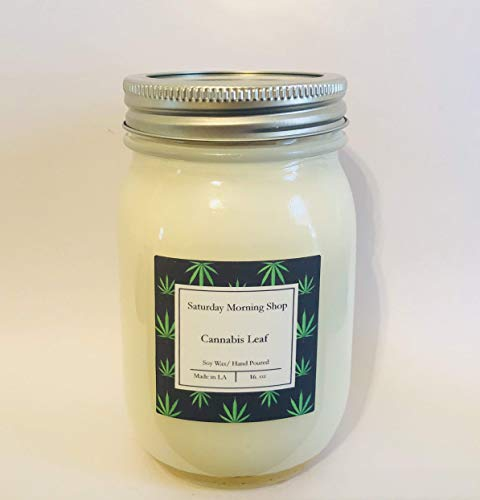 Cannabis Leaf Soy Candle - 16 oz. Mason Jar - Burns for 100 hours - FREE SHIPPING