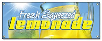 amazon com lemonade banner sign stand fresh squeezed lemon lemonaid