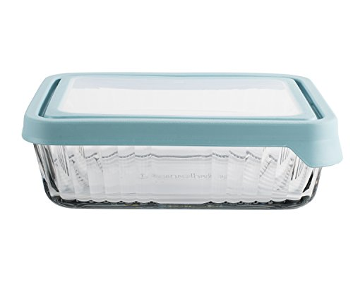 Anchor Hocking Embossed 11 Cup True Seal Rectangular Food Storage Container, Mineral Blue