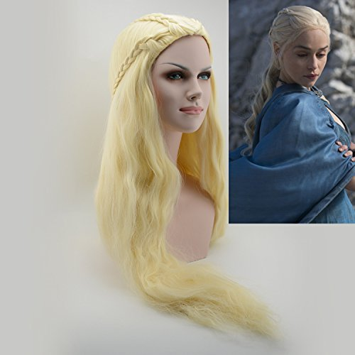 iLToy Daenerys Targaryen Khaleesi Cosplay Wig - Stormborn Targaryen | The Unburnt | Mother of Dragons - Game of Thrones Cosplay Wig Barbarian Bride Costume Women's Braided Long Curly Wavy Hair Blonde (Curly Blonde Costume Wig)