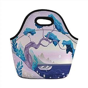 Pranzo al sacco portatile, arredamento costiero, fantastico paesaggio bonsai albero ninfee margherite e barca, blu… 12 spesavip