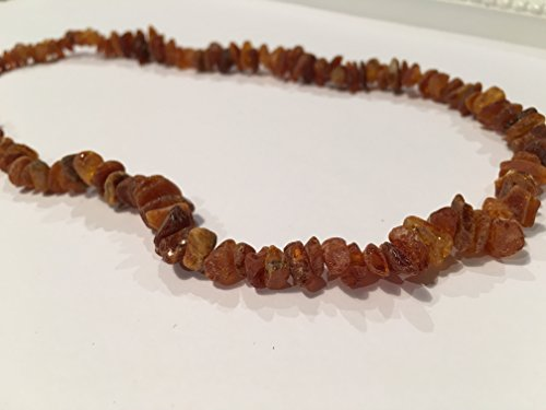 Arthritis Carpal Tunnel Necklace - 22 Inch Raw UnPolished Cognac Baltic Amber Adult Certified authentic Swelling, sciatica, headache migraine, back ache