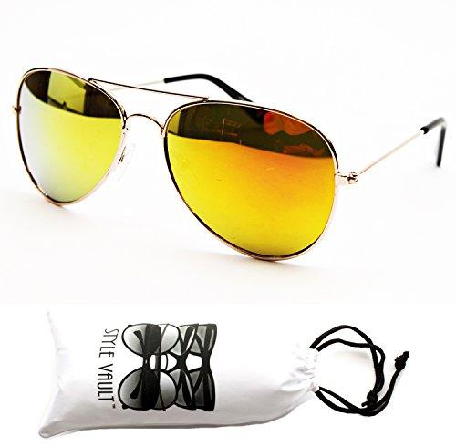 Kd202-vp Style Vault Kids Aviator Sunglasses (Rv Gold-Sunset Gold, - 1960s Sunglasses