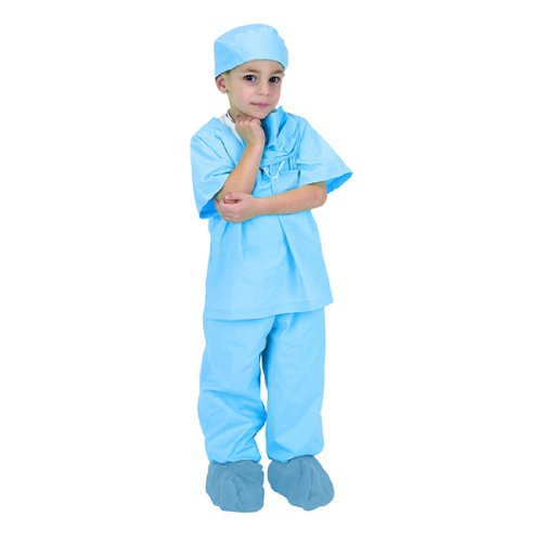 [Child Blue Jr. Doctor Costume Scrubs with Cap] (Doctor Costumes For Toddlers)