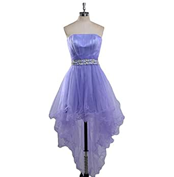 Fishlove Strapless Beaded Tulle Homecoming Dresses High Low Prom Party Gowns in Lavender E72