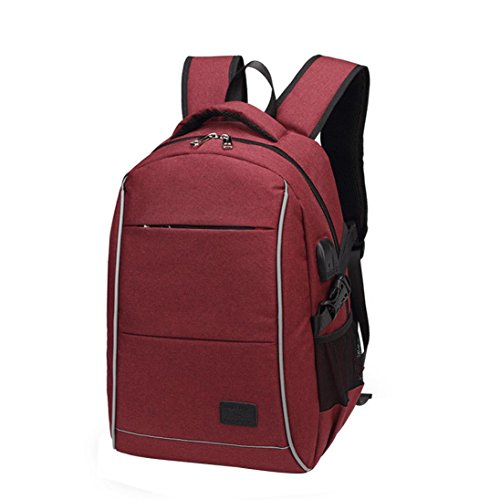de Impermeable Multiusos con Rojo para de USB Vino ✦JiaMeng Mochila Mochila mujer Portátil Carga Bolsos Daypacks Puerto antirrobo JiaMeng Hwf6q6