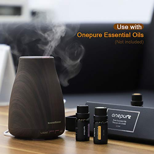 InnoGear Upgraded Wood Aromatherapy Oil Ultrasonic Diffusers Humidifier LED and Auto Office Bedroom