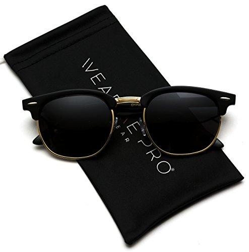 Clubmaster Style Sunglasses - Polarized Clubmaster Classic Half Frame Semi-Rimless Rimmed Sunglasses,Black / Gold