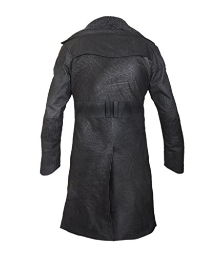Lined Coat Front Open Black Runner Genuine F Stonewashed 2049 Men's Fur Leather Blade amp;H Faux q7vwO7S