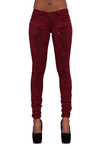 Burgundy mujer Vaqueros Jeans para LustyChic Ripped naBEPSxatW