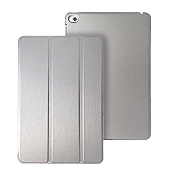 KHOMO Funda iPad Mini 4 - Carcasa Plateada Ultra Delgada y Ligéra con Soporte y Smart Cover para Nuevo Apple iPad Mini 4 - Dual Silver