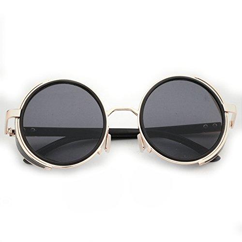 De Mujer LBY Vintage Mujer Sol Hombre para Negro De Cuero Negro De Gafas de Y Sol Color Gafas Hxqwq0Fnr5