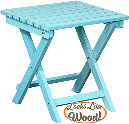 PolyTEAK Folding Outdoor Side Table, Turquoise Blue Weather Resistant, Patio Side Table for Small Spaces Outside Made from Special Formulated Poly Lumber Plastic