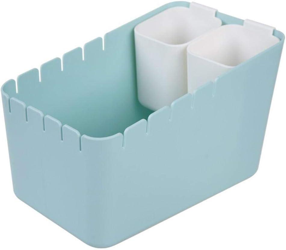 Trennung M/ülleimer Container Mit 2 Fach Papierkorb M/ülleimer Mini M/ülleimer PP Blau//Wei/ß Kunststoff F/ür M/ülltrennung Desktop Kleiner M/ülleimer 27 X 17 X 17cm