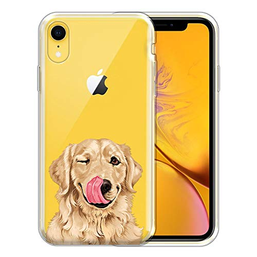 FINCIBO Case Compatible with Apple iPhone XR 6.1 inch, Clear Transparent TPU Silicone Protector Case Cover Soft Gel Skin for iPhone XR - Cute Winking Golden - Golden Retriever Iphone