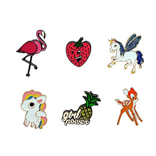 FLYPARTY Cute Enamel Lapel Pin Sets Carton Animal Plant Brooch Pin for Badges for Clothes Bags Backpacks Party Decoration Christmas Gift (Flamingo pineapple strawberry horse deer set of 6) ()
