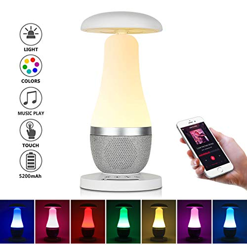 Table Lamp, with USB Chargeable Battery, 3 Steps Dimmable Touch Control Reading Lamp, Mushroom Shape Desk Lamp, Bluetooth Connection with Speaker, Changing RGB Atmosphere Light for Bedside Lamp