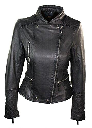 100% Ladies Leather Jacket Biker Style Retro Black Vintage Black