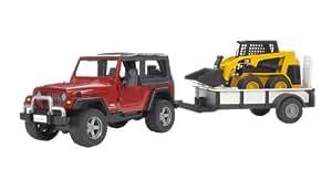 Bruder 2924 - Jeep Wrangler de juguete con remolque y Caterpillar
