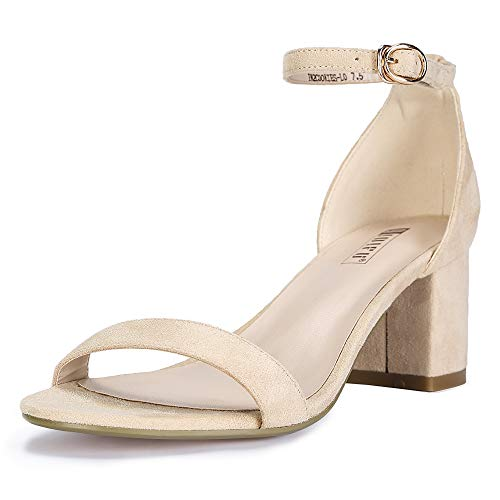 IDIFU Women's IN2 Cookie-LO Low Heel Ankle Strap Dress Pump Sandal (Nude Suede, 7 B(M) US)
